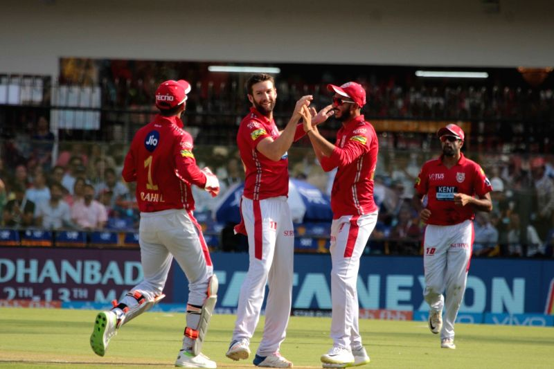 Kings XI Punjab's Andrew Tye celebrates fall of a wicket during an IPL 2018 match between Kings XI Punjab and Kolkata Knight Riders at Holkar Cricket Stadium in Indore, on May 12, 2018.