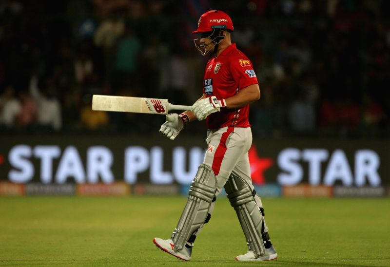 Kings XI Punjab's Aron Finch returns back to the pavilion after getting dismissed during an IPL 2018 match between Kings XI Punjab and Delhi Daredevils at Feroz Shah Kotla, in New Delhi on ... - Feroz Shah Kotla