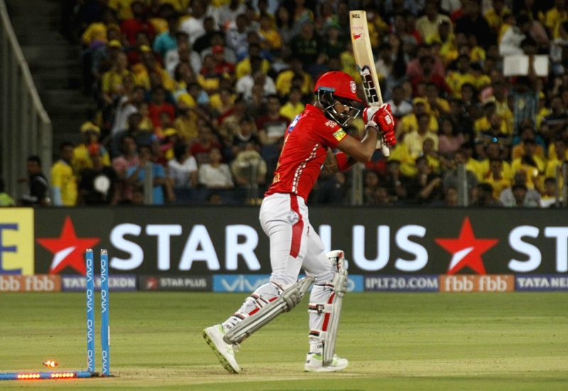 Kings XI Punjab's Lokesh Rahul gets dismissed during an IPL 2018 match between Chennai Super Kings and Kings XI Punjab at Maharashtra Cricket Association Stadium in Pune on May 20, 2018. - Lokesh Rahul