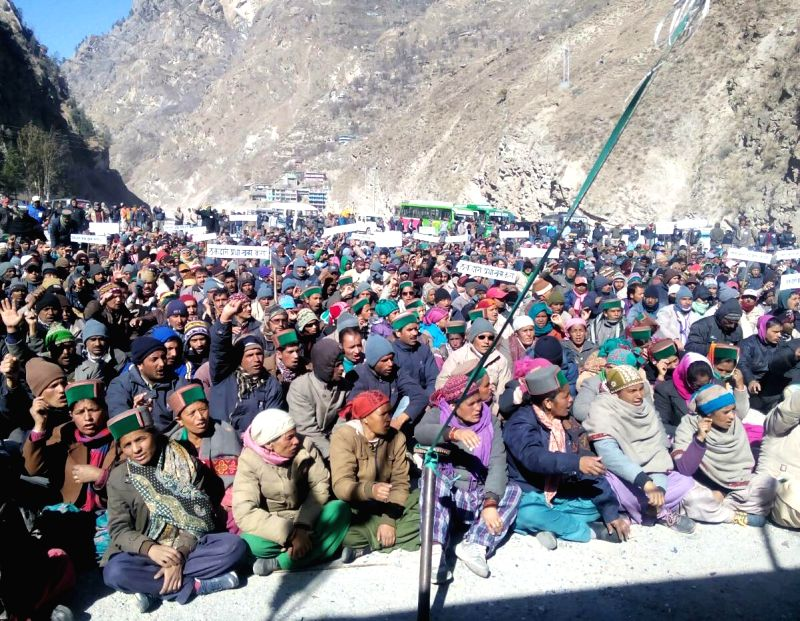 Villagers from 18 panchayats of Kinnaur district of Himachal Pradesh stage a demonstration against JP hydro power project at Karcham Wangtoo, Himachal Pradesh on Feb 14, 2015.
