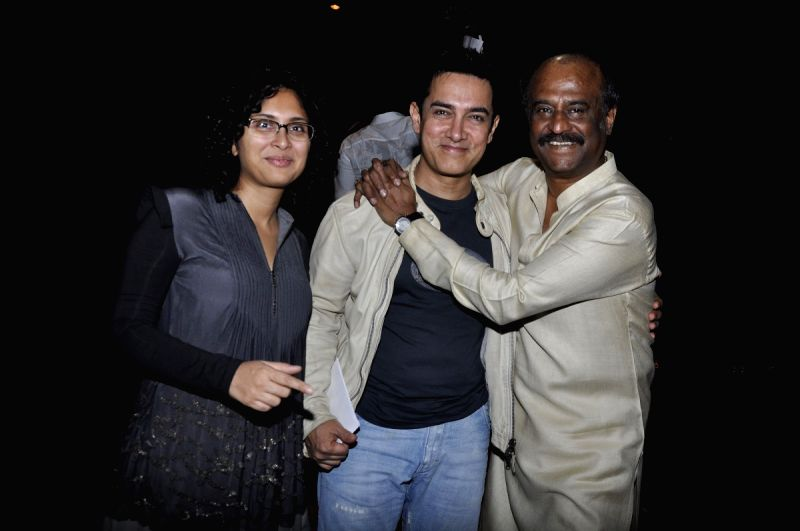 Kiran, Aamir and Rajinikanth at Robot premiere at PVR ...