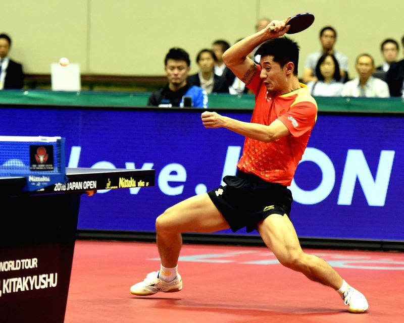 KITAKYUSHU, June 10, 2018 - Zhang Jike of China returns the ball during the men's singles final against Tomokazu Harimoto of Japan at the 2018 ITTF World tour Japan Open in Kitakyushu, Japan, on June ...