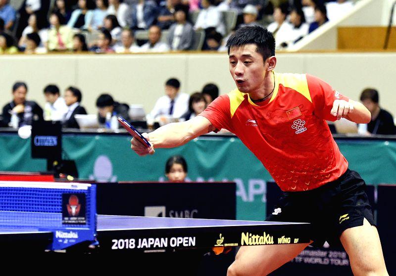 KITAKYUSHU, June 8, 2018 - Zhang Jike of China returns the ball during the men's singles round of 32 match against Jonathan Groth of Danmark at the 2018 ITTF World tour Japan Open in Kitakyushu, ...