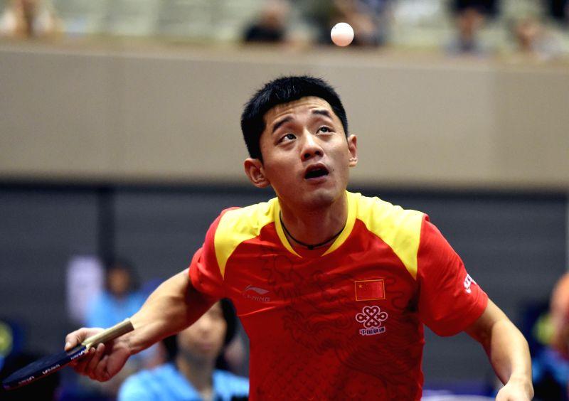 KITAKYUSHU, June 8, 2018 - Zhang Jike of China serves during the men's singles round of 32 match against Jonathan Groth of Danmark at the 2018 ITTF World tour Japan Open in Kitakyushu, Japan, on June ...