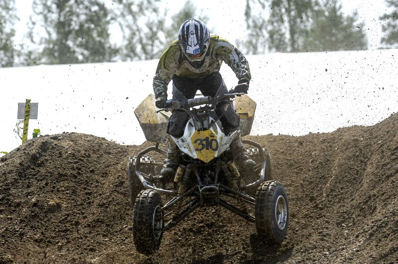 Tuomas Kuivamaki of Finlad competes during the MAXXIS Quadcross European Championship held in Kivioli, Estonia on August 3, 2014.