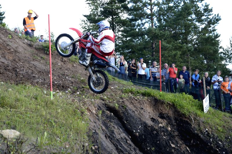 KIVIOLI, Aug. 7, 2016 - Professional motorcyclist competes in an international extreme hill climbing competiton on supercharged motorcycles at Kivioli Ski Resort in Northeastern Estonia on August 6, ...