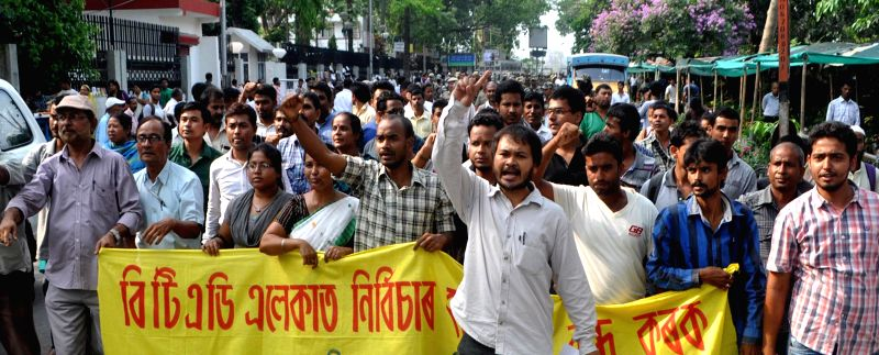 KMSS activists led by Akhil Gogoi stage a demonstration in front of the Kamrup (Metro) DC office against May 1 BTAD violence in which 11 people were killed, in Guwahati on May 2, 2014.