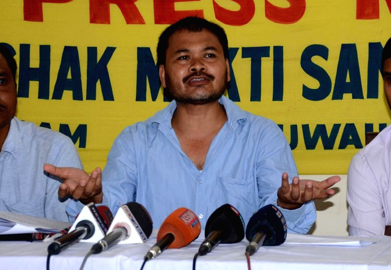 KMSS leader Akhil Gogoi addresses a press conference in Guwahati on May 21, 2017.
