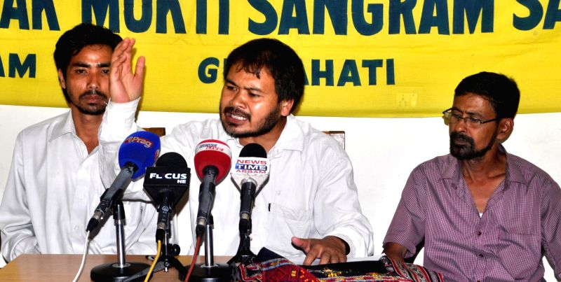KMSS president Akhil Gogoi addresses a press conference regarding May 1 BTAD violence in which 11 people were killed, in Guwahati on May 2, 2014.