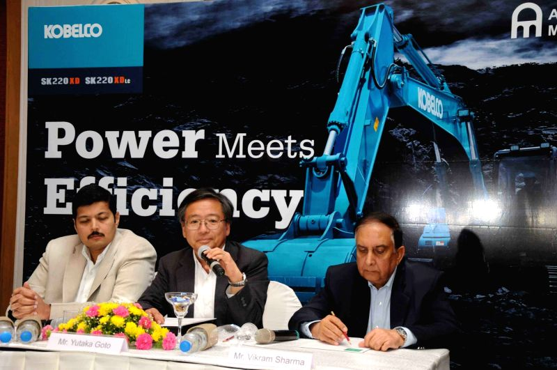 Kobelco Cranes President and CEO Yutaka Goto addresses during the launch of KOBELCO's Gen10 - Excavator in Hyderabad on April 21, 2017. Also seen Audi Hyderabad Managing Director Rajiv M ...