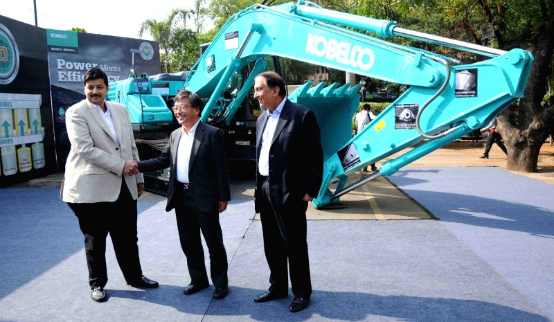 Kobelco Cranes President and CEO Yutaka Goto and Audi Hyderabad Managing Director Rajiv M Sanghvi during the launch of KOBELCO's Gen10 - Excavator in Hyderabad on April 21, 2017.