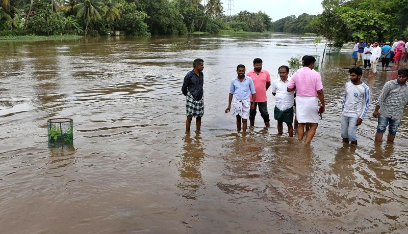 :Kochi: A view of the flood hit Muvattupuzha near Kochi, Kerala on Aug 9, 2018. (Photo: IANS).