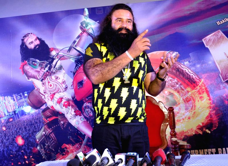 Dera Saccha Sauda chief Gurmeet Ram Rahim Singh during a press conference of his film `MSG - The Messenger of God` in Kochi on Feb. 4, 2015.
