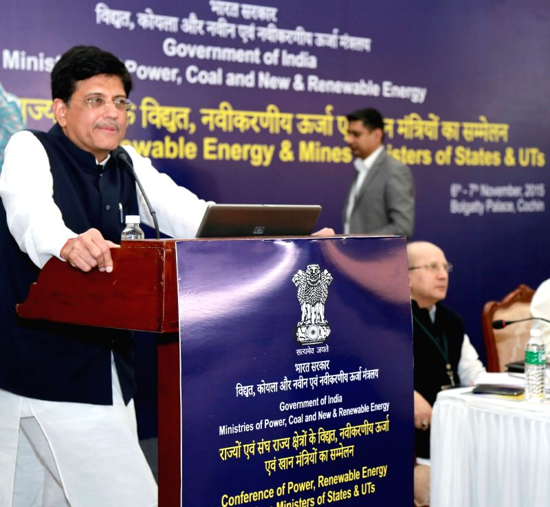 : Kochi: Minister of State (Independent Charge) for Power, Coal and New and Renewable Energy, Piyush Goyal addresses at the conference of power, Renewable Energy and Mines Ministers of States and ... - Piyush Goyal