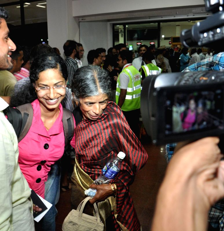 The Kerala nurses stuck in violence hit Yemen arrive at the Kochi International Airport, on April 4, 2015.