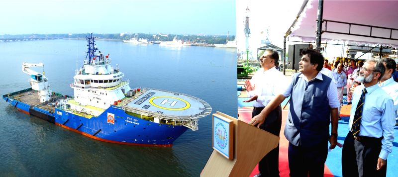 The Union Minister for Road Transport and Highways, and Shipping, Nitin Gadkari dedicates to the nation the buoy tender vessel Indira Point built by the Cochin Shipyard Limited for Directorate ...