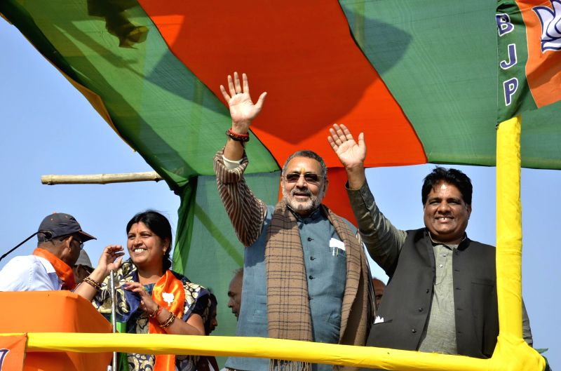 Union MoS for Micro, Small & Medium Enterprises Giriraj Singh during a BJP rally in Domchanch of Koderma, Jharkhand on Dec 3, 2014. - Enterprises Giriraj Singh