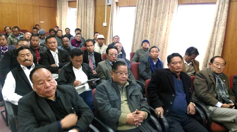:Kohima: NSCN (I-M) and NNPGs representatives with CCNTHCO members attend a meeting in the presence of Core Committee of Nagaland Tribal Hohos and Civil Organisations (CCNTHCO) at Kohima in ...