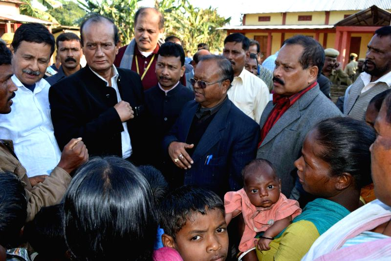 A group of ministers including, Assam Agricultural Minister Nilmoni Sen Deka, Revenue Minister Prithivi Majhi, and Food, Civil and Health minister Nazrul Islam take stock of situation in .. - Nilmoni Sen Deka