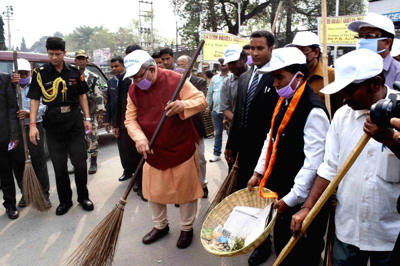 Assam Governor P.B. Acharya participates in `Clean India Campaign`in Kokrajhar.