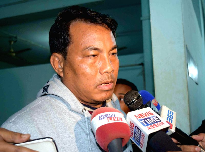 Kokrajhar Deputy Chief of Bodoland Territorial Council (BTC) and  Chief Convener of BNC Khampa Borgoyari talks to the media regarding Bodo militants' indiscriminate firings in Kokrajhar on Dec 23, ...