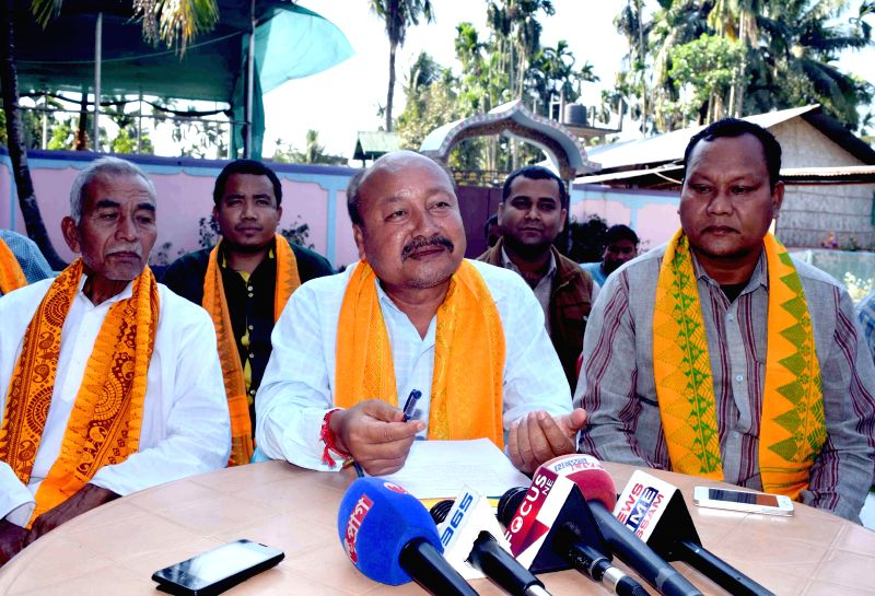 Senior BPF leader and sitting BTC executive member Mono Kumar Brahma addresses a press conference ahead of joining BJP in Kokrajhar, Assam on March 3, 2015.