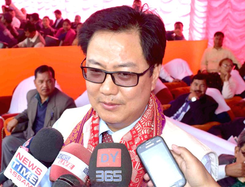 Union Minister of State for Home Affairs Kiren Rijiju talks press during a programme organised to mark the 13th Bodoland Day in Kokrajhar on Feb 10, 2015.