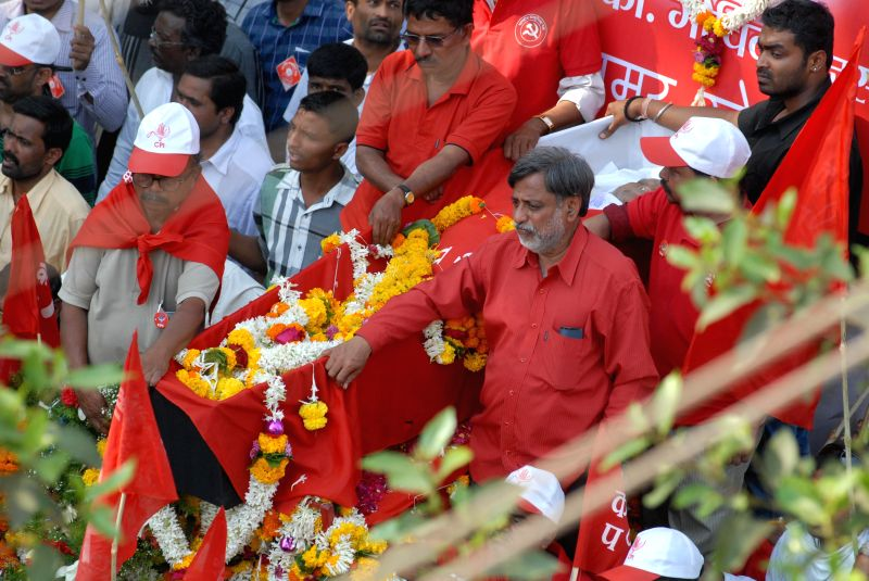 The funeral procession of late Communist leader Govind Pansare who breathed his last on 20th Feb 2015, in Kolhapur on Feb 21, 2015. Veteran Left leader Govind Pansare who was shot at in ...