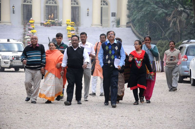 A BJP delegation led by Samik Bhattacharya comes out of the Raj Bhavan after meeting West Bengal Governor Keshari Nath Tripathi  in Kolkata, on Dec 30, 2014. - Keshari Nath Tripathi