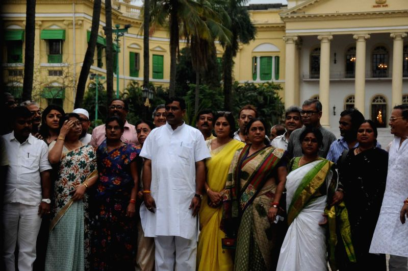 A BJP delegation led by West Bengal BJP chief Rahul Sinha come out of the Raj Bhawan after meeting West Bengal Governor Keshari Nath Tripathi in Kolkata, on April 24, 2015. Also seen party ... - Rahul Sinha and Keshari Nath Tripathi