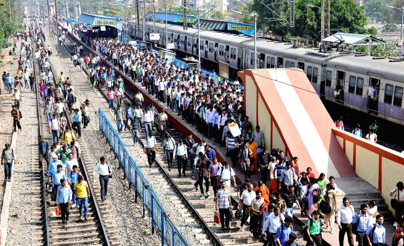 A crowded platform of Bidhannagar Station - a Kolkata Suburban Railway Junction Station in Kolkata, on Feb 26, 2015. The Union Railways Minister Suresh Prabhakar Prabhu Thursday presented ... - Suresh Prabhakar Prabhu Thursday