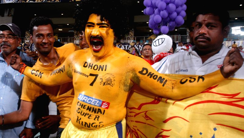 A Dhoni fan at the Eden Gardens during an IPL-2015 match between Chennai Super Kings and Kolkata Knight Riders in Kolkata, on April 30, 2015.