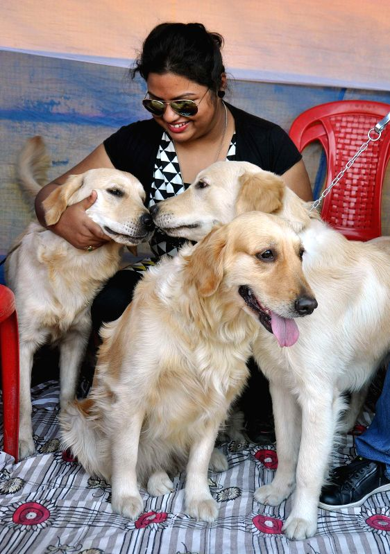 A lady with her pets at a dog show organised at Salt Lake central park in Kolkata, on Jan 25, 2015.