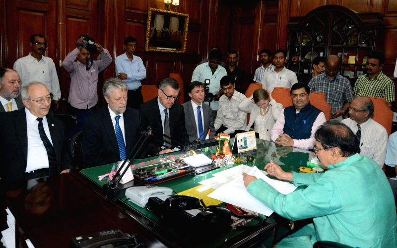 A parliamentary delegation from Czech Republic calls on West Bengal speaker Biman Banerjee in Kolkata, on April 29, 2015. - Biman Banerjee
