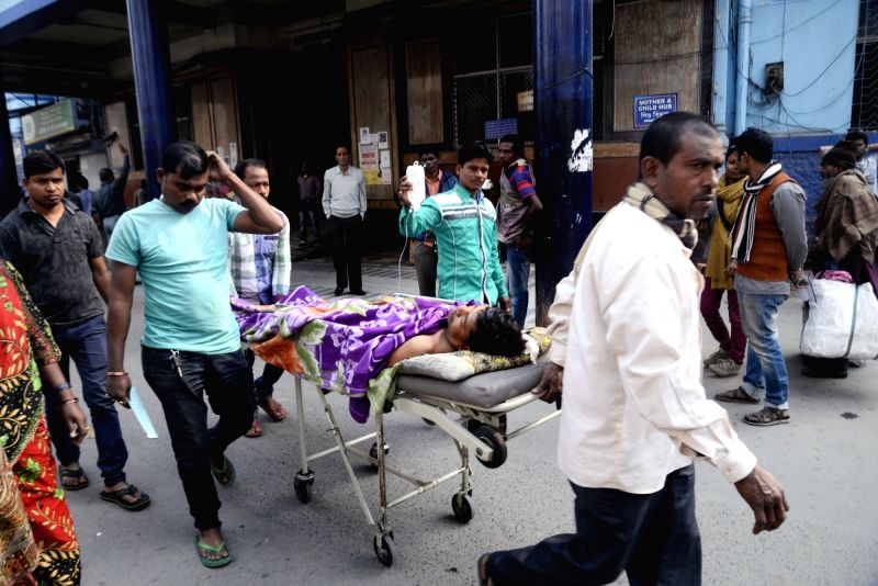 : Kolkata: A patient being taken to be admitted at a hospital in Kolkata on Feb 1, 2018. With an emphasis on health besides agriculture and rural economy, infra and senior citizens in the Union ...