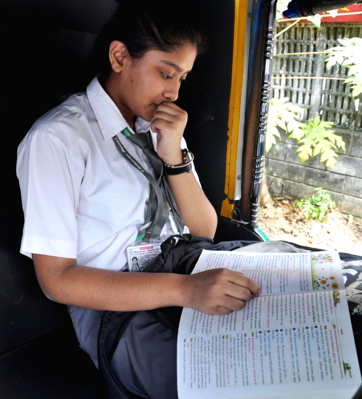 Kolkata: A students busy in last minute revision ahead of appearing for the West Bengal class 10th Board examinations that commenced from today, in Kolkata on Feb 18, 2020. (Photo: Kuntal Chakrabarty/IANS)