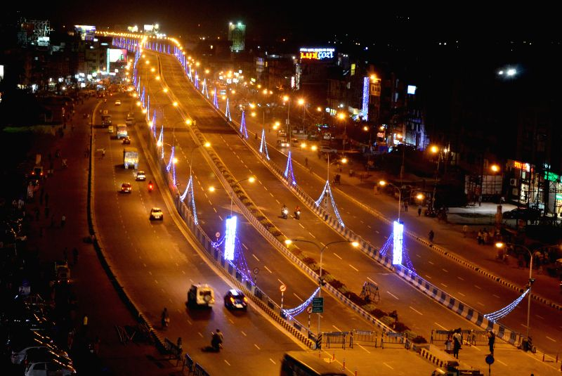 A view of a newly constructed flyover on the VIP Road in Kolkata, on March 7, 2015.