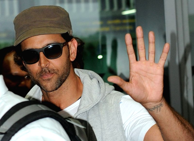 Actor Hrithik Roshan arrives at Netaji Subhas Chandra Bose Airport in Kolkata on April 6, 2015.