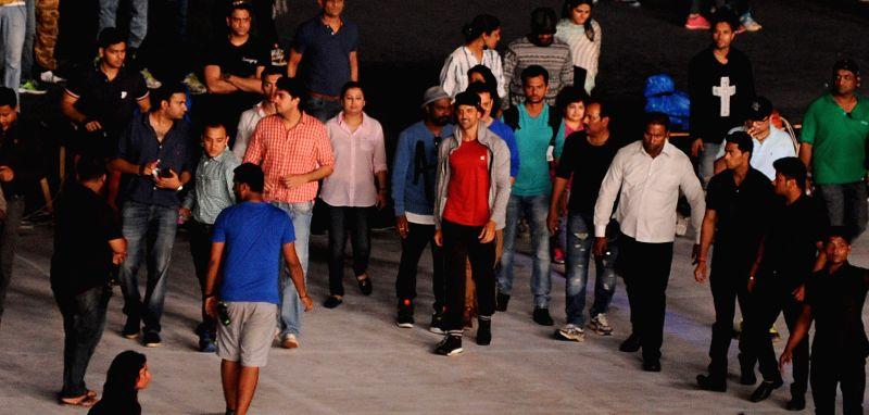 Actor Hrithik Roshan during the rehearsals for the inauguration of IPL - 2015 at Salt Lake stadium in Kolkata on April 6, 2015. - Hrithik Roshan