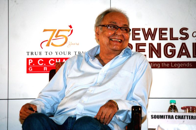 Actor Soumitra Chatterjee during a programme organised to pay tribute to Satyajit Ray in Kolkata, on April 26, 2015.