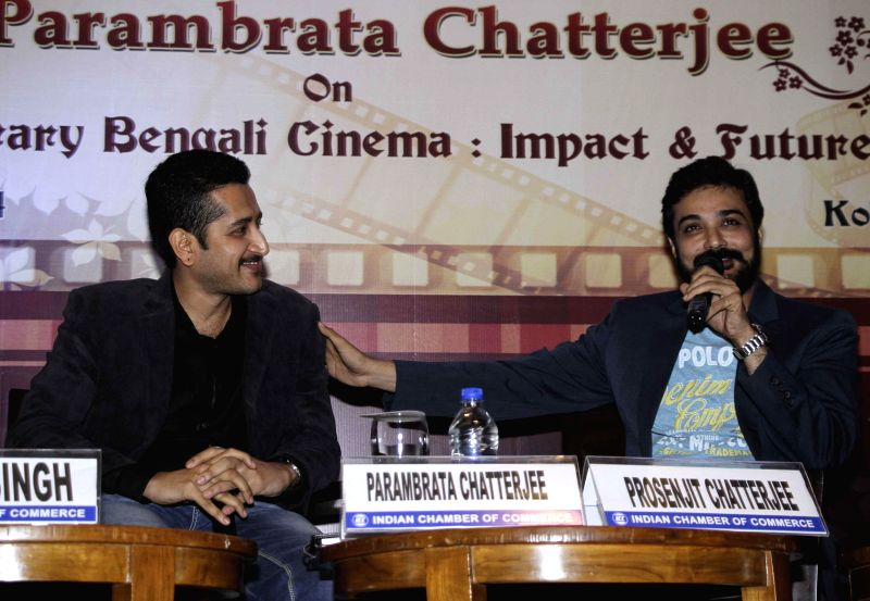 Actors Prosenjit Chatterjee and Parambrata Chatterjee during an interaction on Contemporary Bengali Cinema :  Impact and Future in Kolkata on ​6 Dec, 2014. - Prosenjit Chatterjee and Parambrata Chatterjee