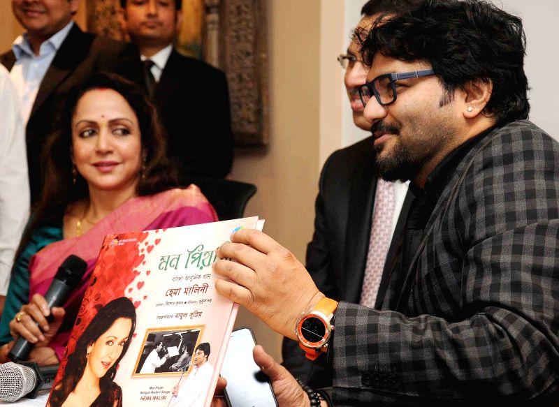 Actress Hema Malini with Union Minister of State for Urban Development, Housing and Urban Poverty Alleviation Babul Supriyo and RP Sanjiv Goenka Group chairman Sanjiv Goenka at the launch of - Sanjiv Goenka Group