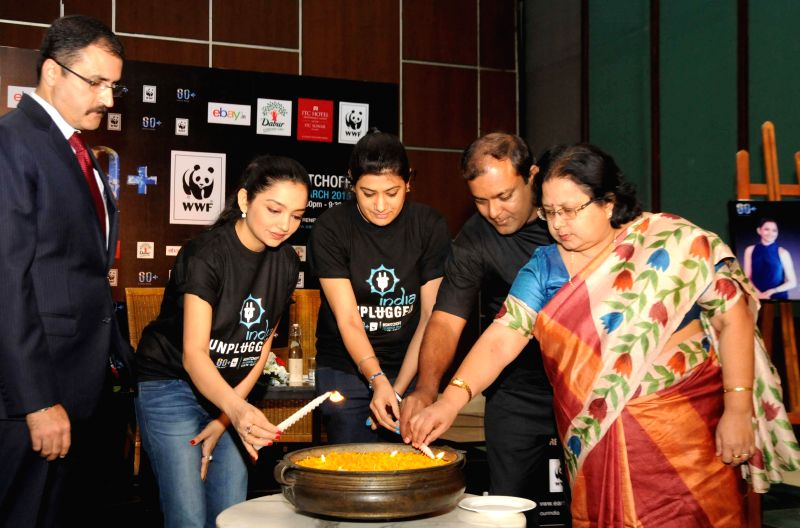 Actress June Maliah during a press conference to kick off Earth Hour 2015 in Kolkata, on March 11, 2015.
