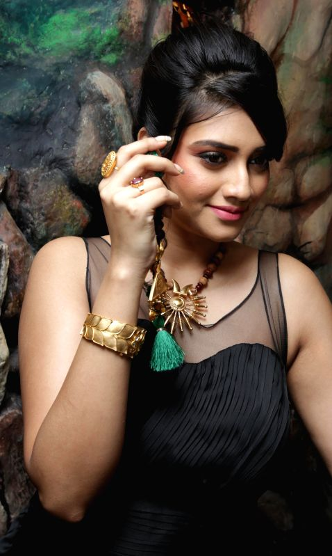 Actress Nusrat Jahan during a programme in Kolkata, on March 3, 2015.