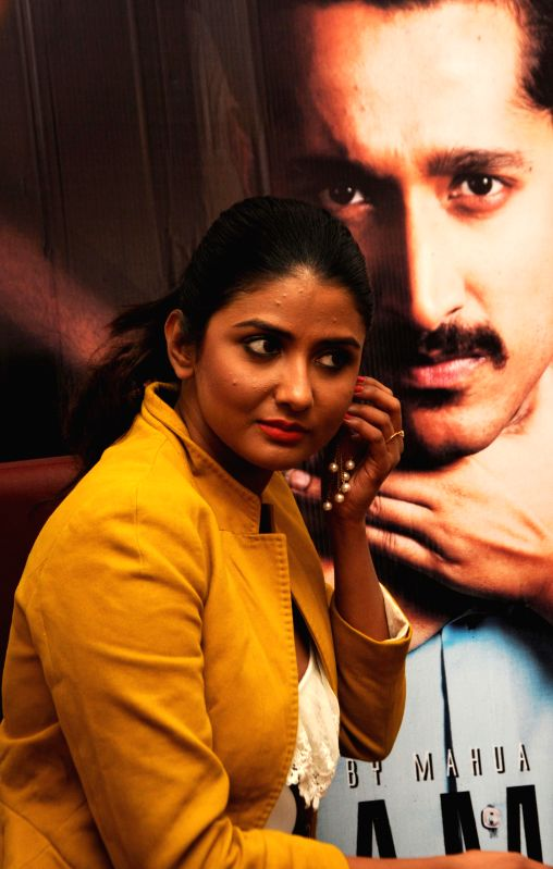 """Actress Parno Mitra during promotion of the film """"Glamour"""" in Kolkata on Jan 31, 2015."""
