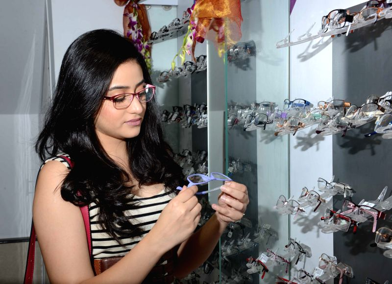 Actress Ridhima Ghosh at the launch of an optical store in Kolkata, on March 24, 2015.