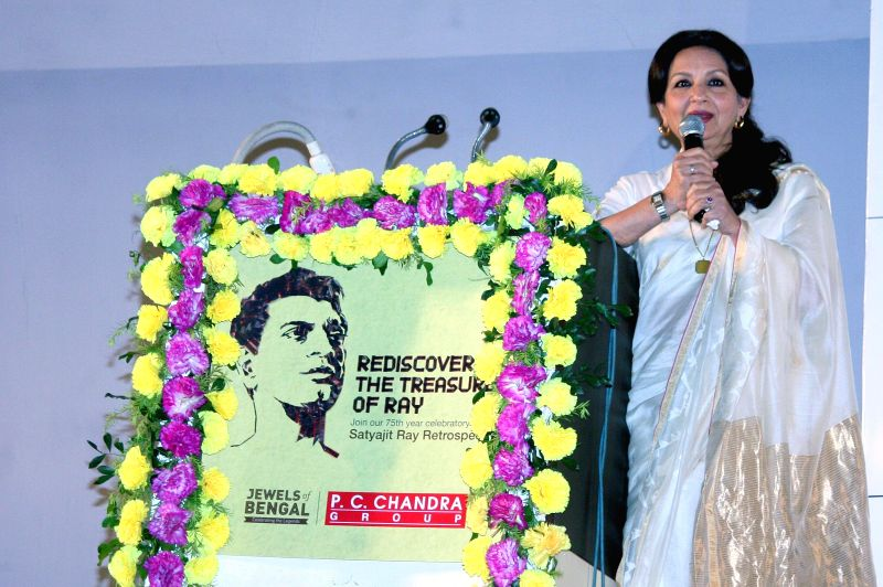 Actress Sharmila Tagore addresses during a programme organised to pay tribute to Satyajit Ray in Kolkata, on April 26, 2015.