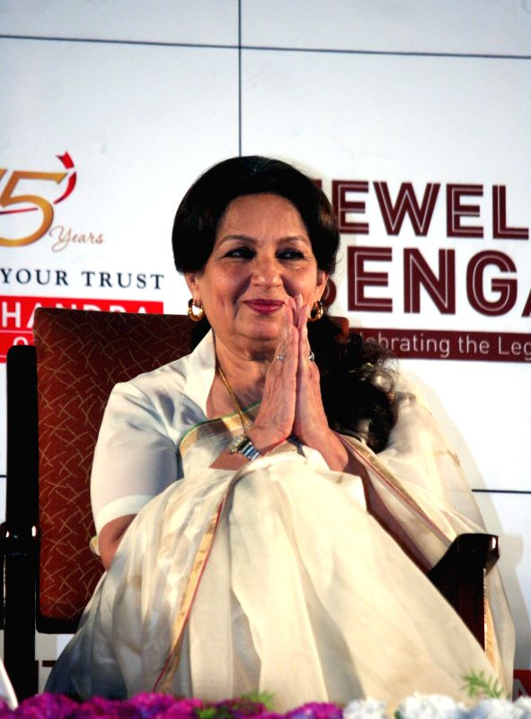 Actress Sharmila Tagore during a programme organised to pay tribute to Satyajit Ray in Kolkata, on April 26, 2015.