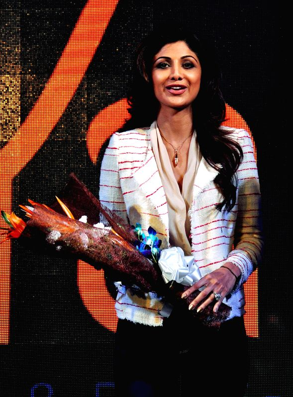 Actress Shilpa Shetty interacts with press during a programme in Kolkata, on Jan 22, 2015.