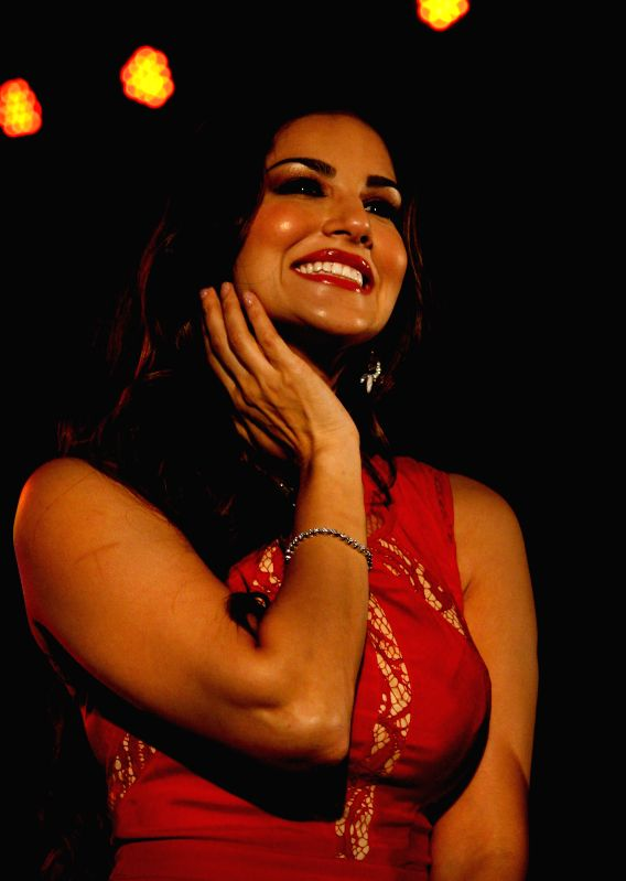 Actress Sunny Leone during a programme organised to celebrate Christmas in Kolkata on Dec 25, 2014.